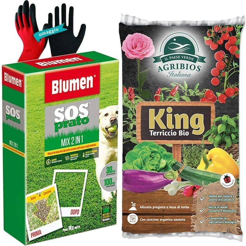 opengarden - mike set semina, sos prato 2 in 1, rapido con fertilizzante npk+terriccio universale 20 litri+guanti omaggio  kit completo risemina