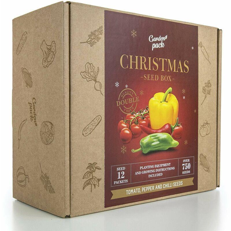 pollice verde - kit semi christmas edition, di pomodoro, peperoni, peperoncino con accessori per la coltivazione