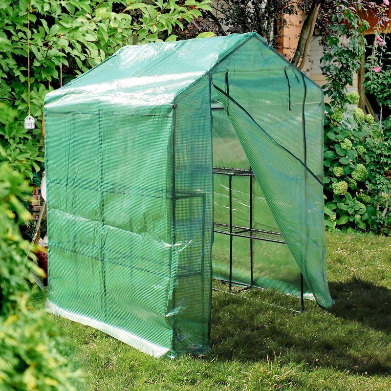 wiltec serra da giardino 143x143x195 cm con 8 ripiani accessibile e con copertura di protezione in pe - wiltec
