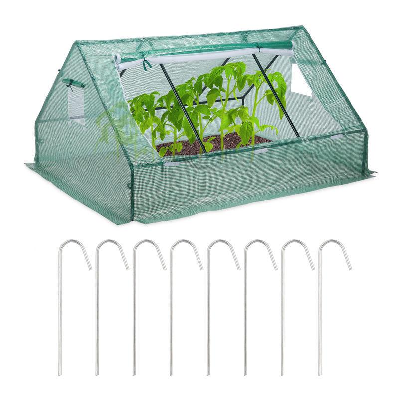 relaxdays - serra in telo, bassa, con tetto spiovente, telo anti-uv, vivaio per verdure e piante, hlp 110x180x150cm, verde