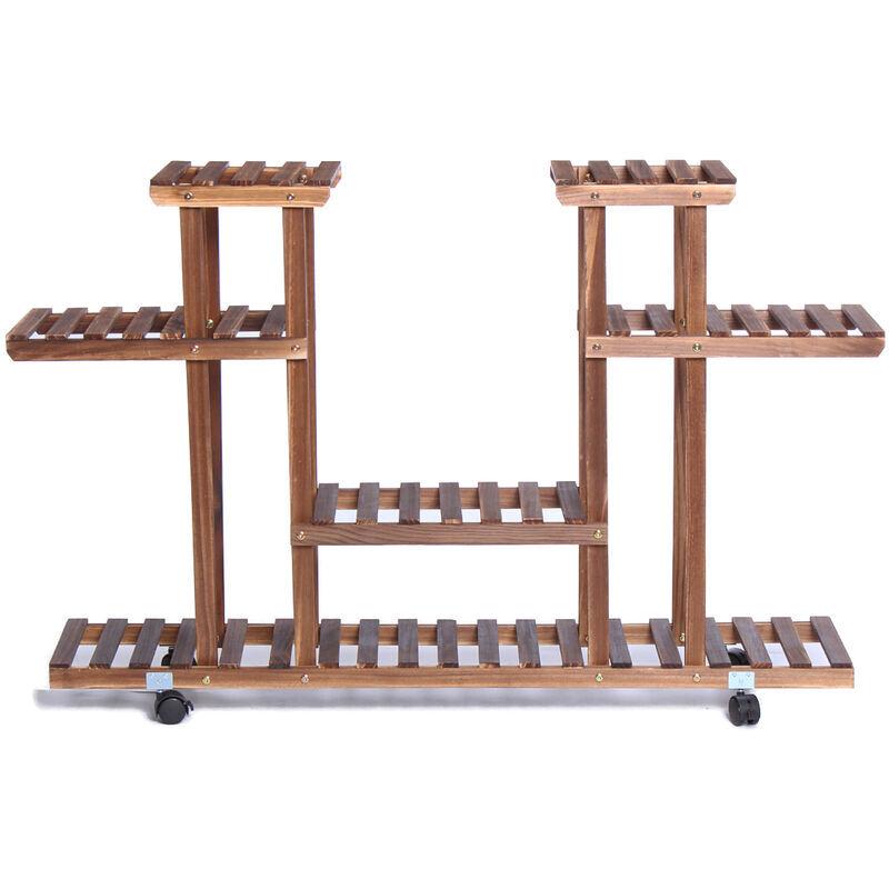 augienb supporto per piante in legno a 4 livelli - augienb