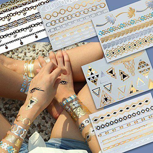 LK Trend & Style Accessori alla moda BELLEZZA, Oro Metallici Tatuaggi Flash, Braccialetti, 5 Set 40 Stampe