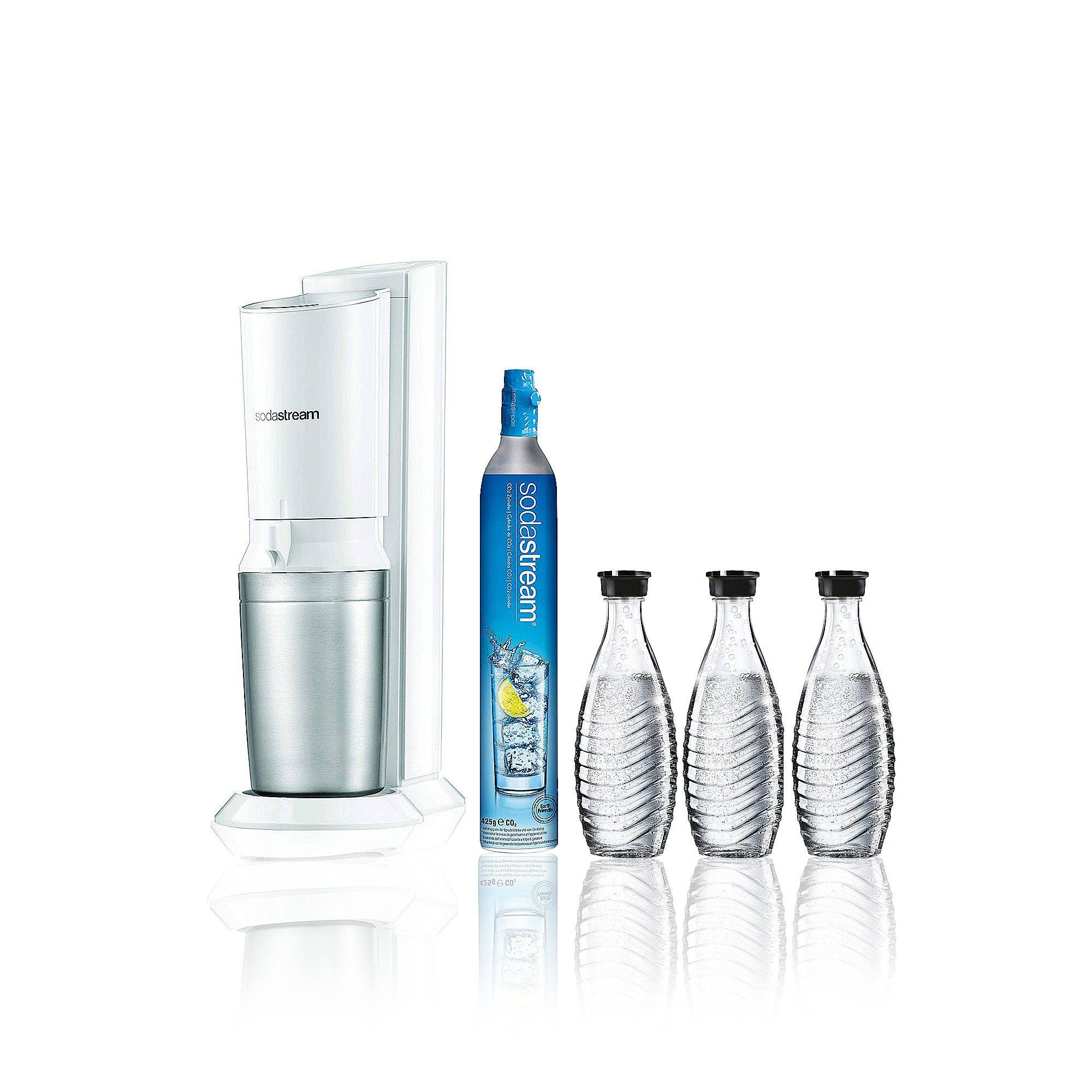 Sodastream Gasatore Crystal White e 3 bottiglie di vetro