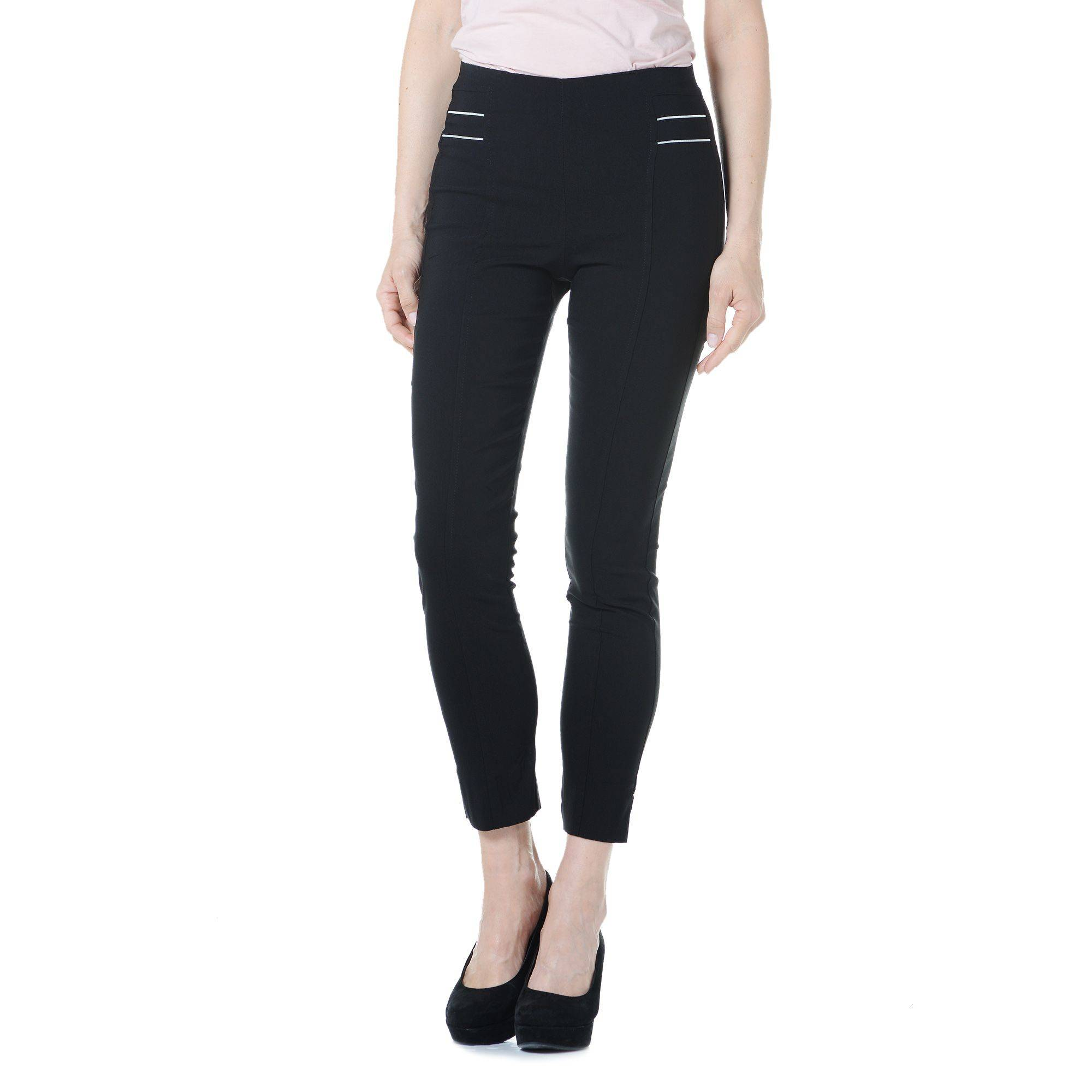 Officina della Moda Pantaloni in tessuto super elasticizzato motivo effetto zip