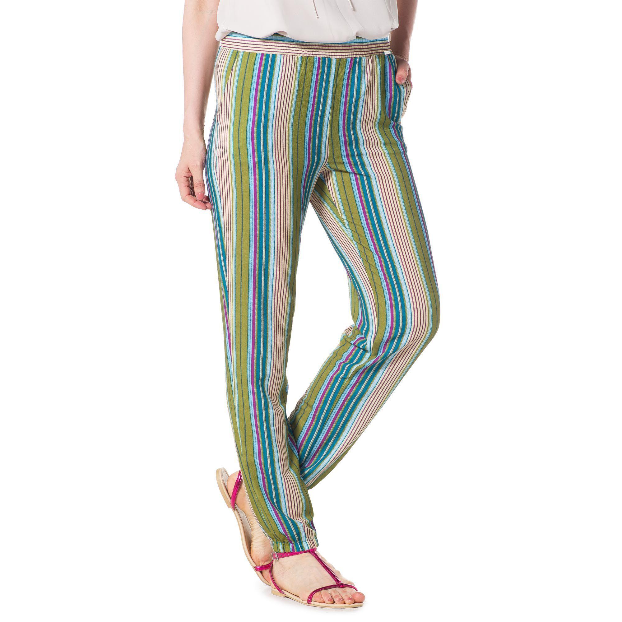 Officina della Moda Pantaloni fantasia con tasche alla francese ed elastico al fondo