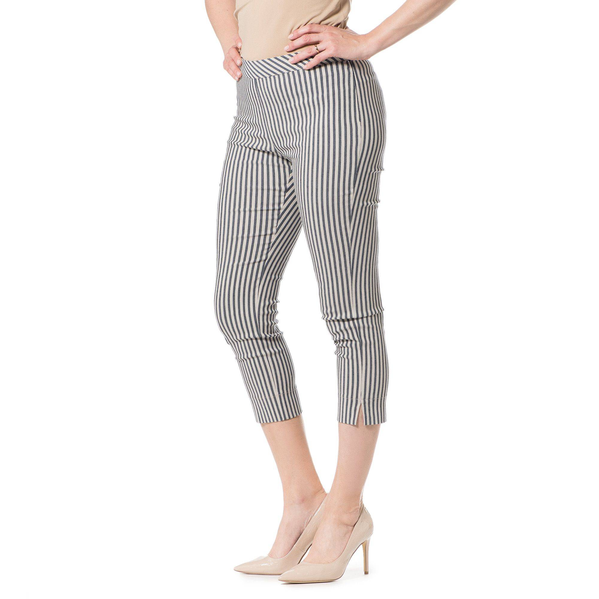 Officina della Moda Pantaloni fantasia made in Italy con spacchi