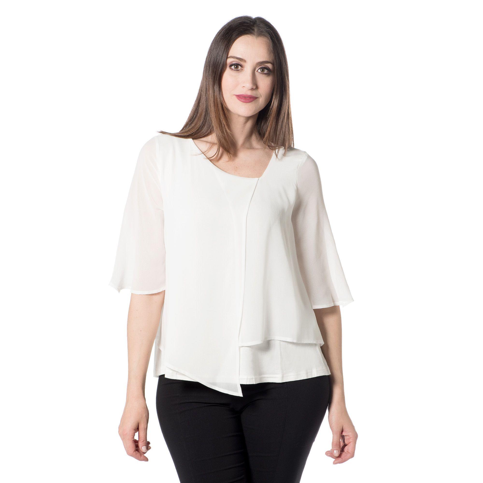 Officina della Moda Blusa effetto doppio made in Italy