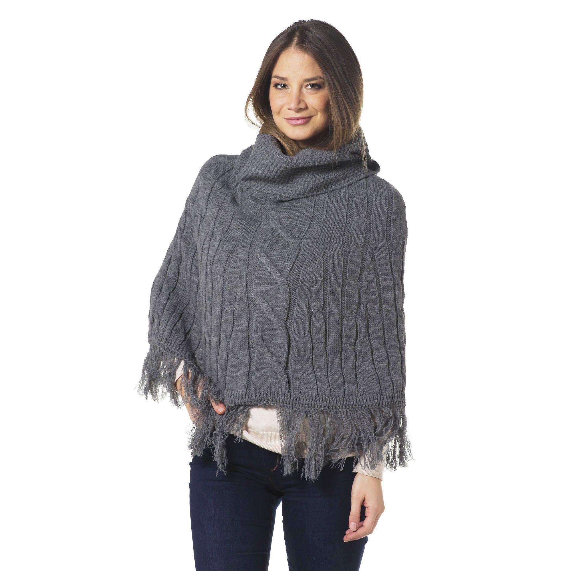 Via Poncho in maglia con lavorazione a trecce e fondo con frange