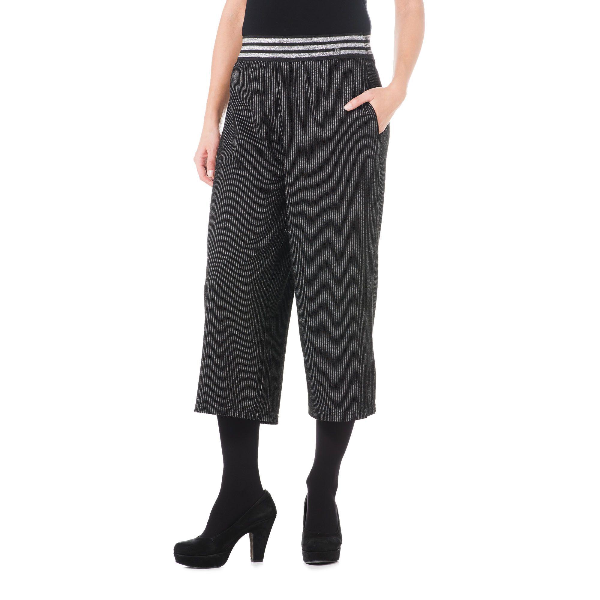 Officina della Moda Pantalone gaucho in tessuto lamé con elastico in vita