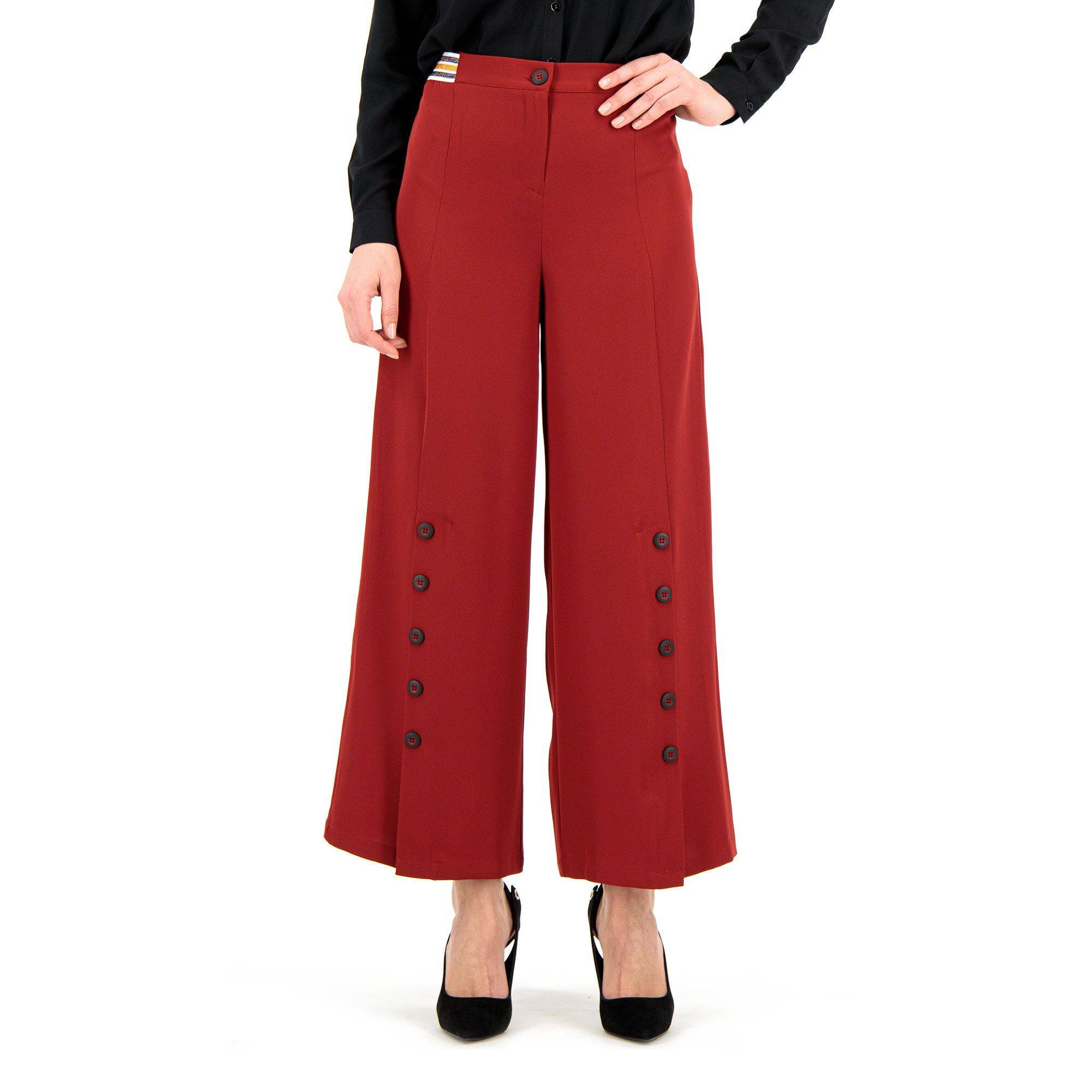 Officina della Moda Pantaloni ampi con spacchi con bottoni