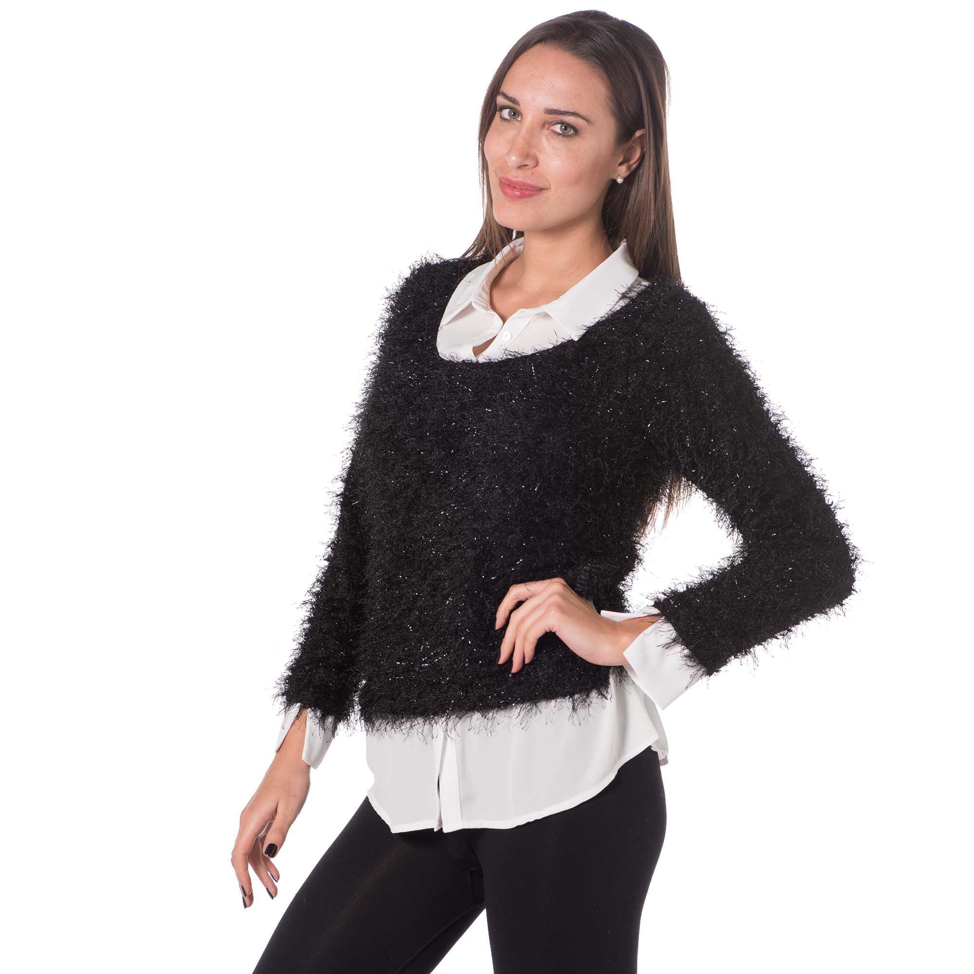 Officina della Moda Blusa effetto twin-set con camicia e maglia effetto peluche