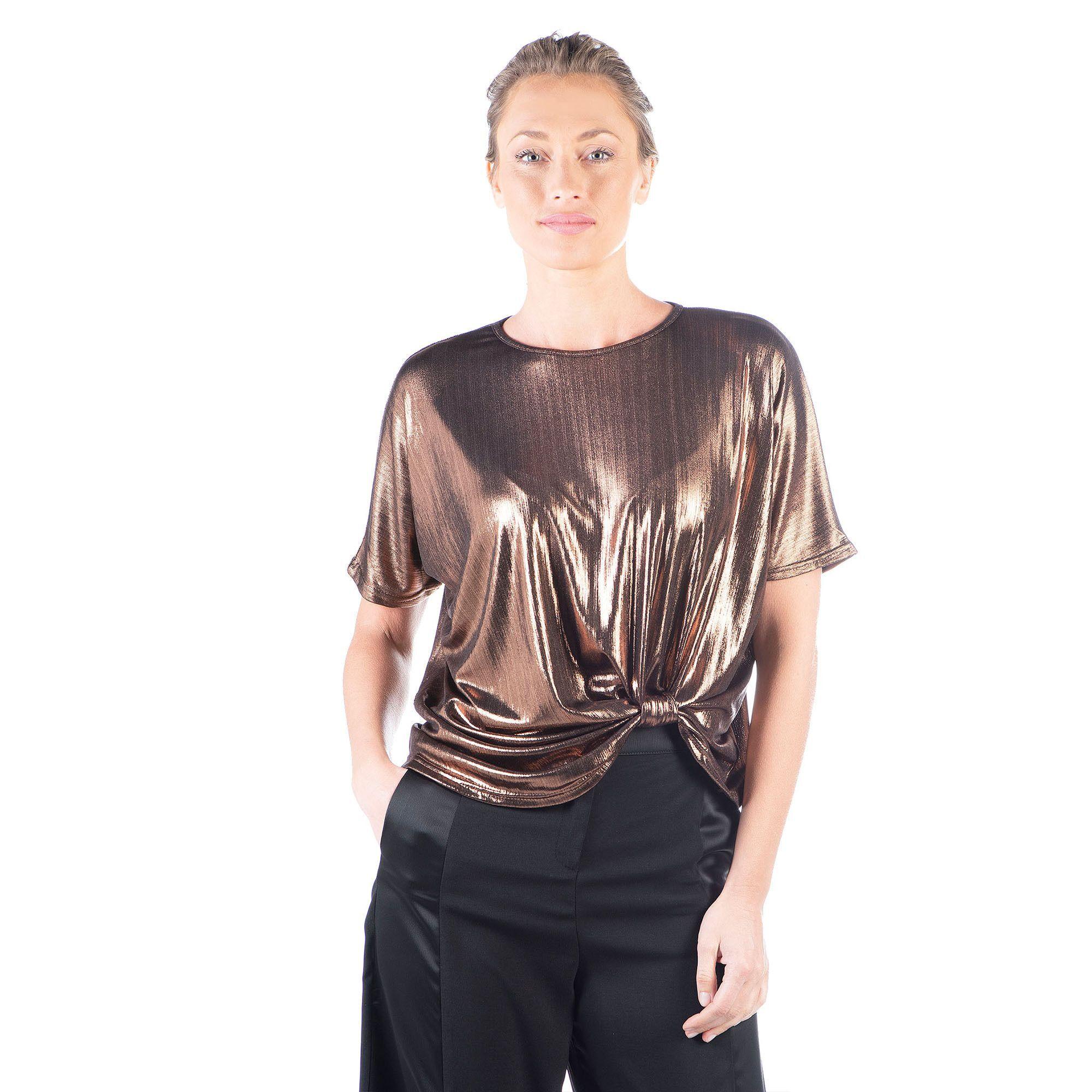 Officina della Moda Blusa in jersey metal con nodo
