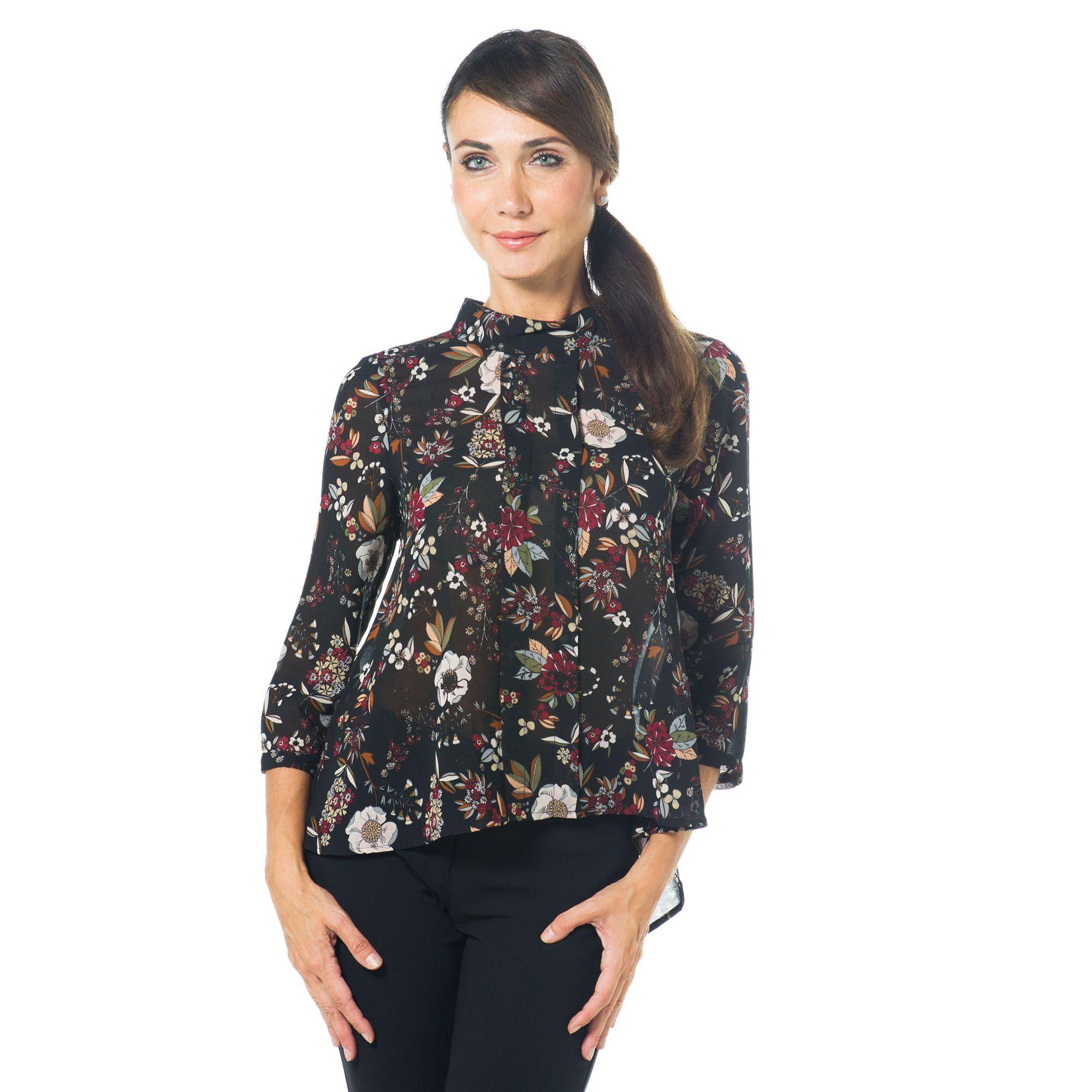 Officina della Moda Blusa in crêpe con stampa fantasia e collo alto