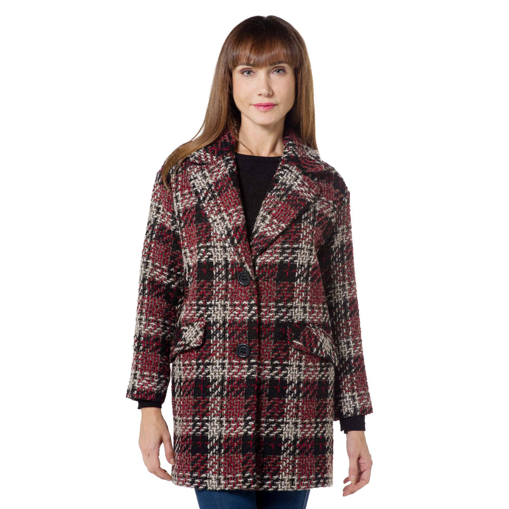 Officina della Moda Giaccone monopetto in misto lana con fantasia a quadri