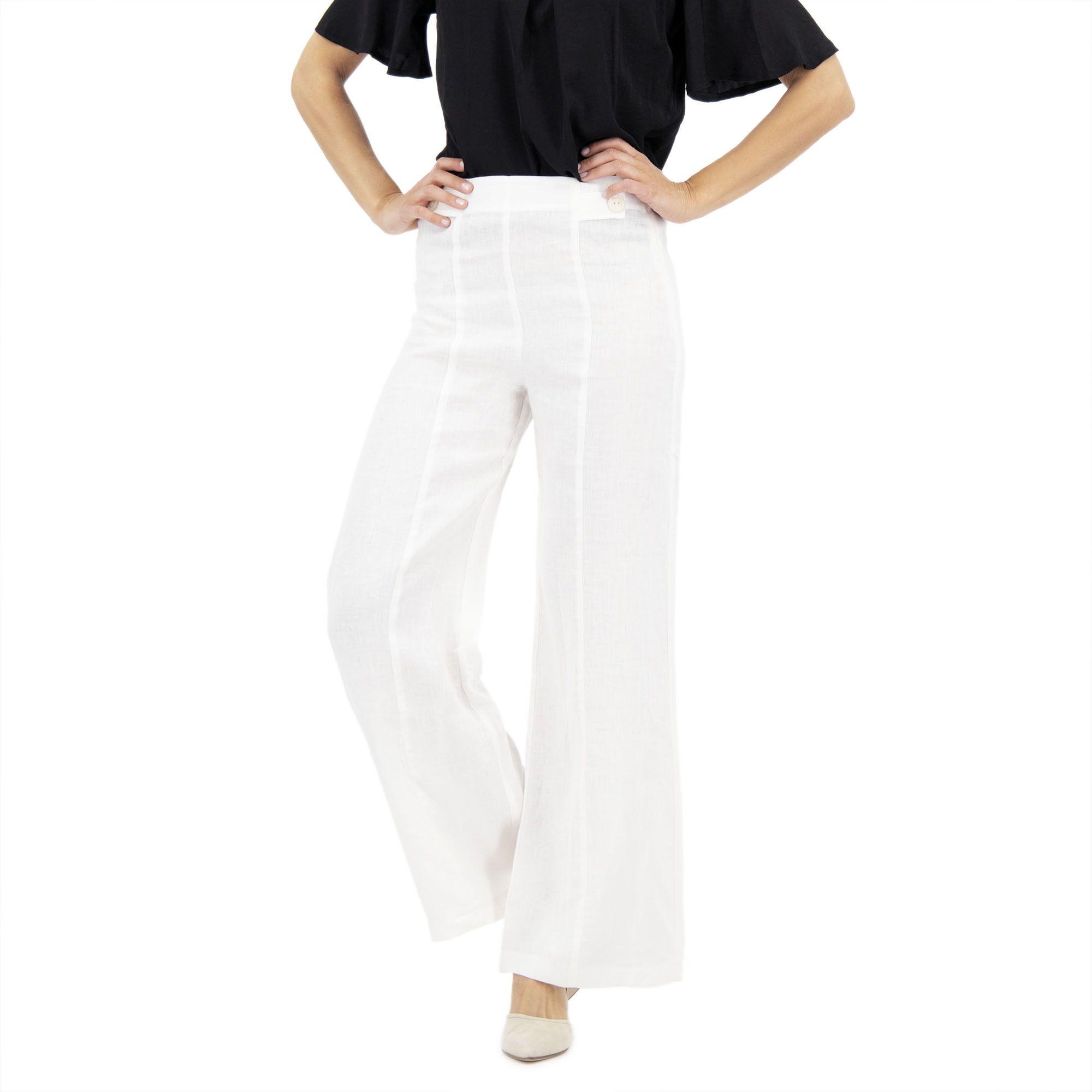 Officina della Moda Pantaloni lino misura Regular + Petite