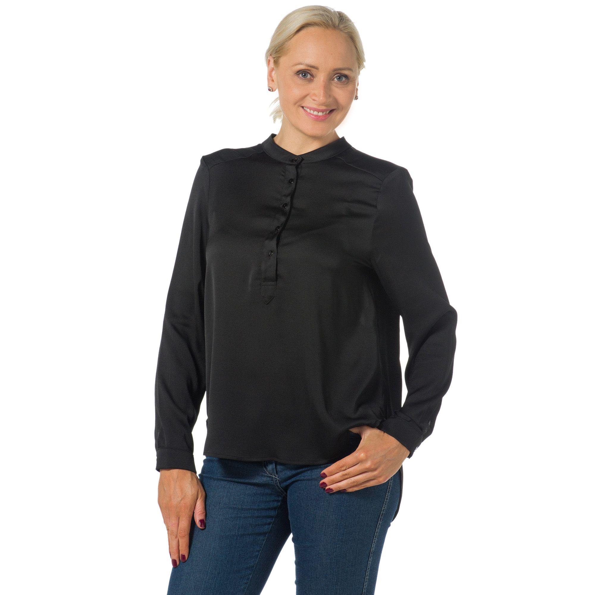 Officina della Moda Blusa asimmetrica in raso crêpe lucido con collo a listino