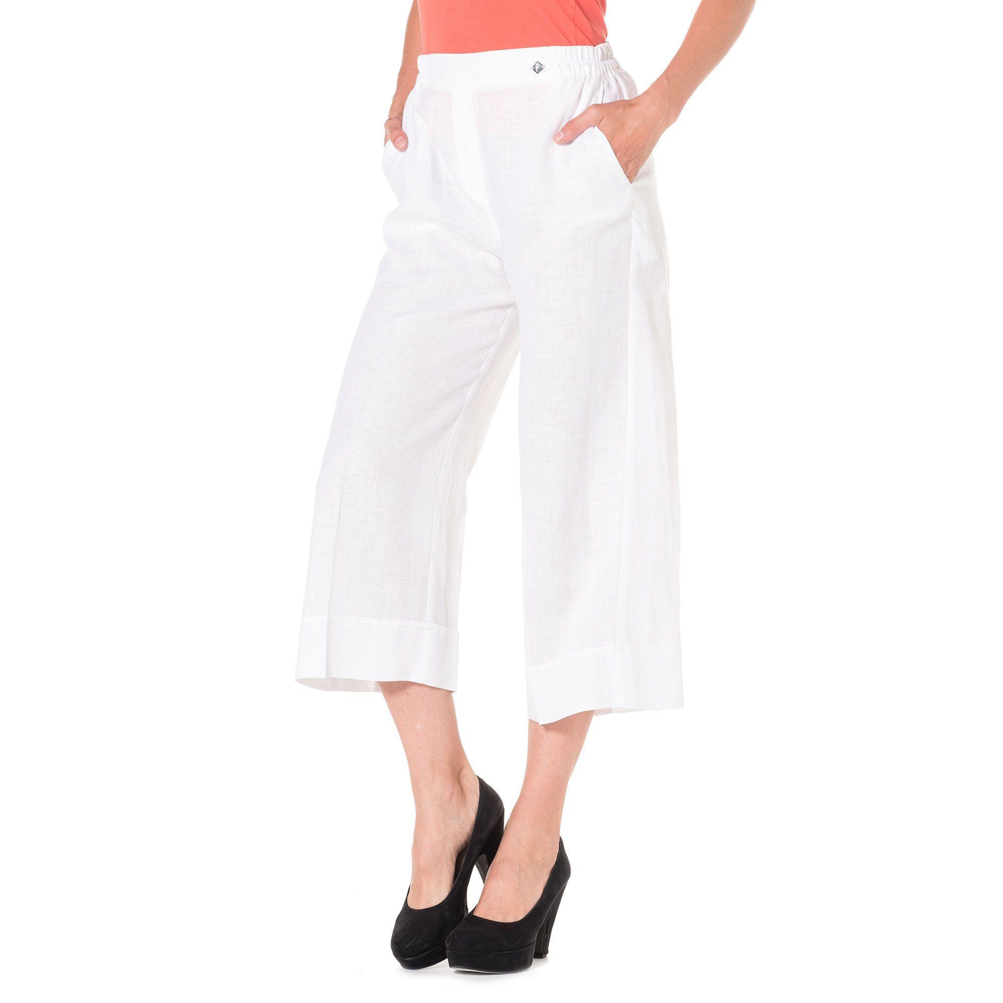 Officina della Moda Pantaloni gaucho made in Italy in lino