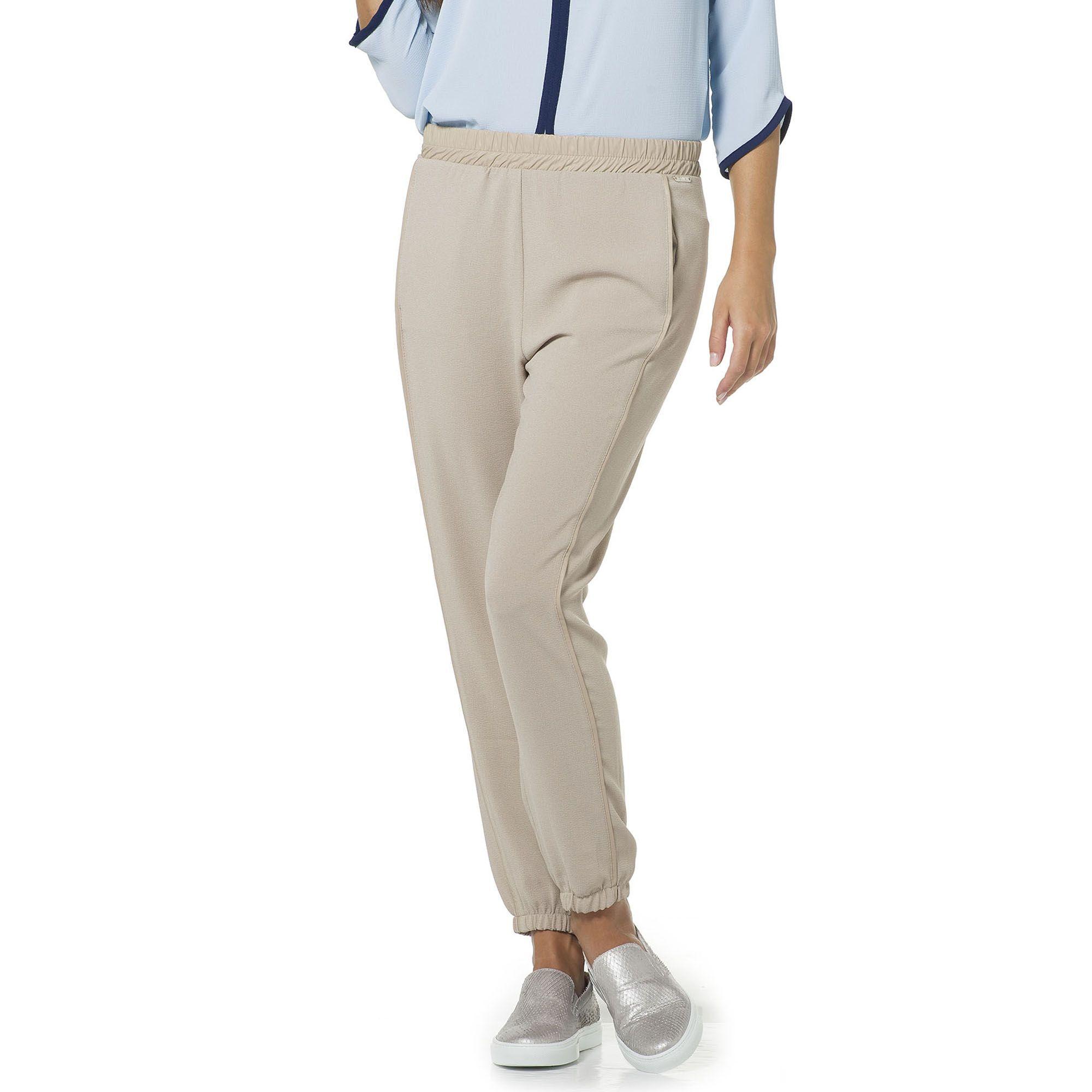 Officina della Moda Pantaloni in crêpe con dettagli similpelle