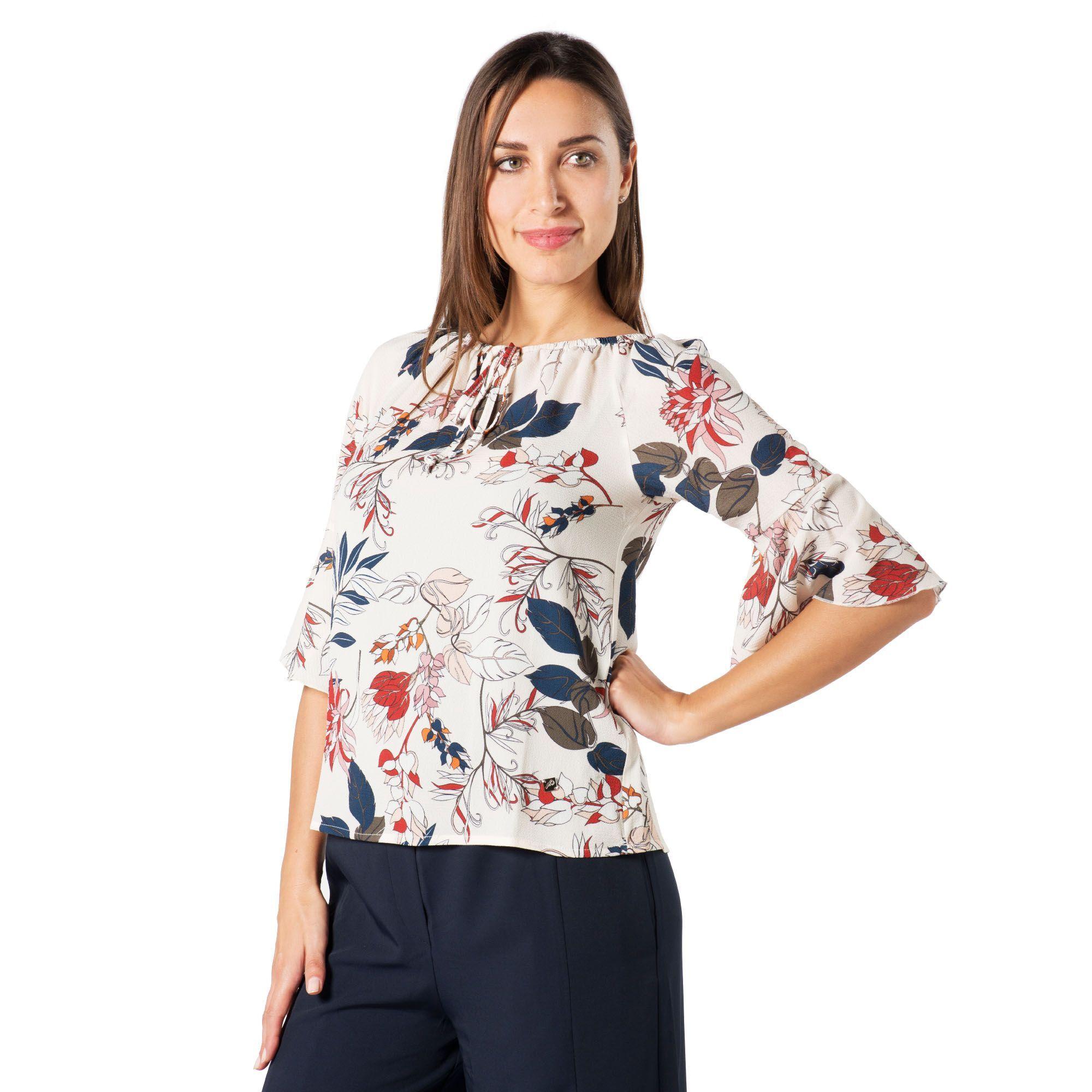 Officina della Moda Blusa in crêpe fantasia con elastico allo scollo con lacci