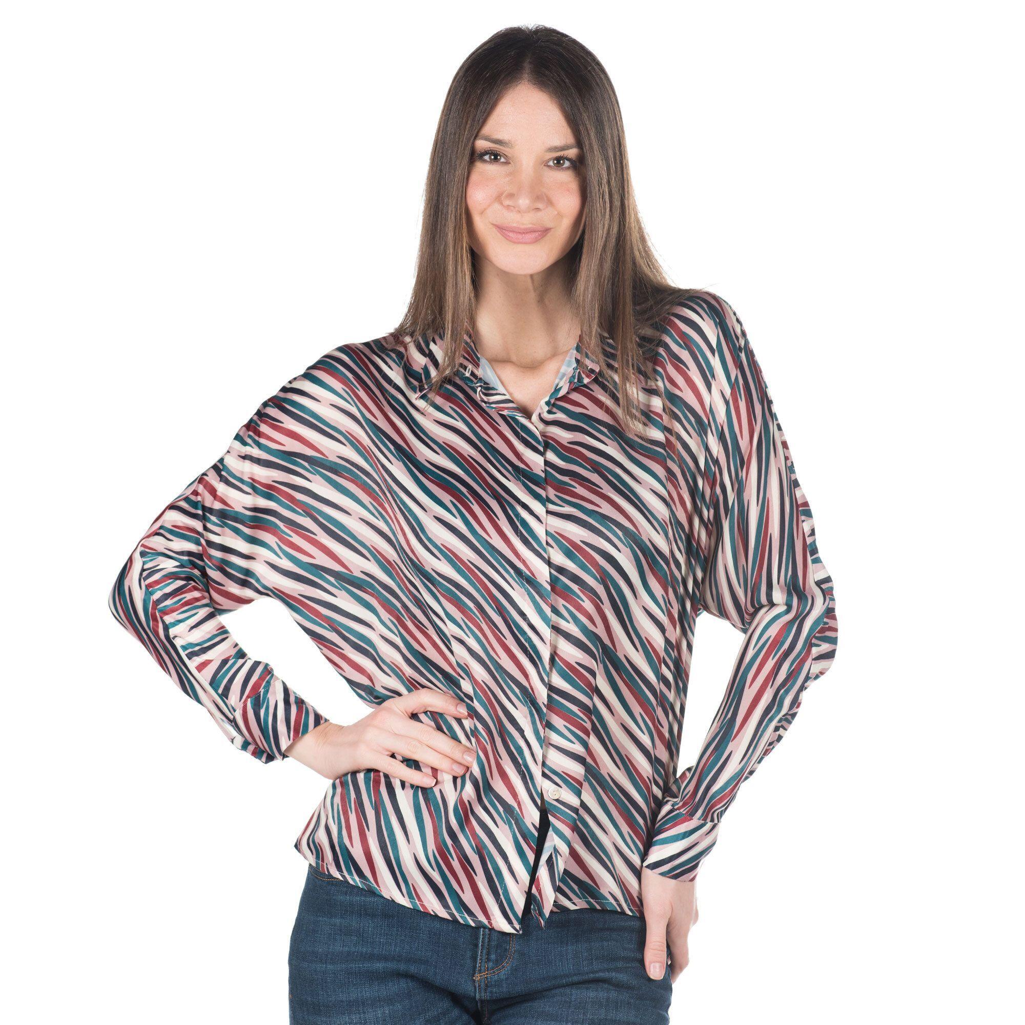 Officina della Moda Camicia fantasia made in Italy in rasatello