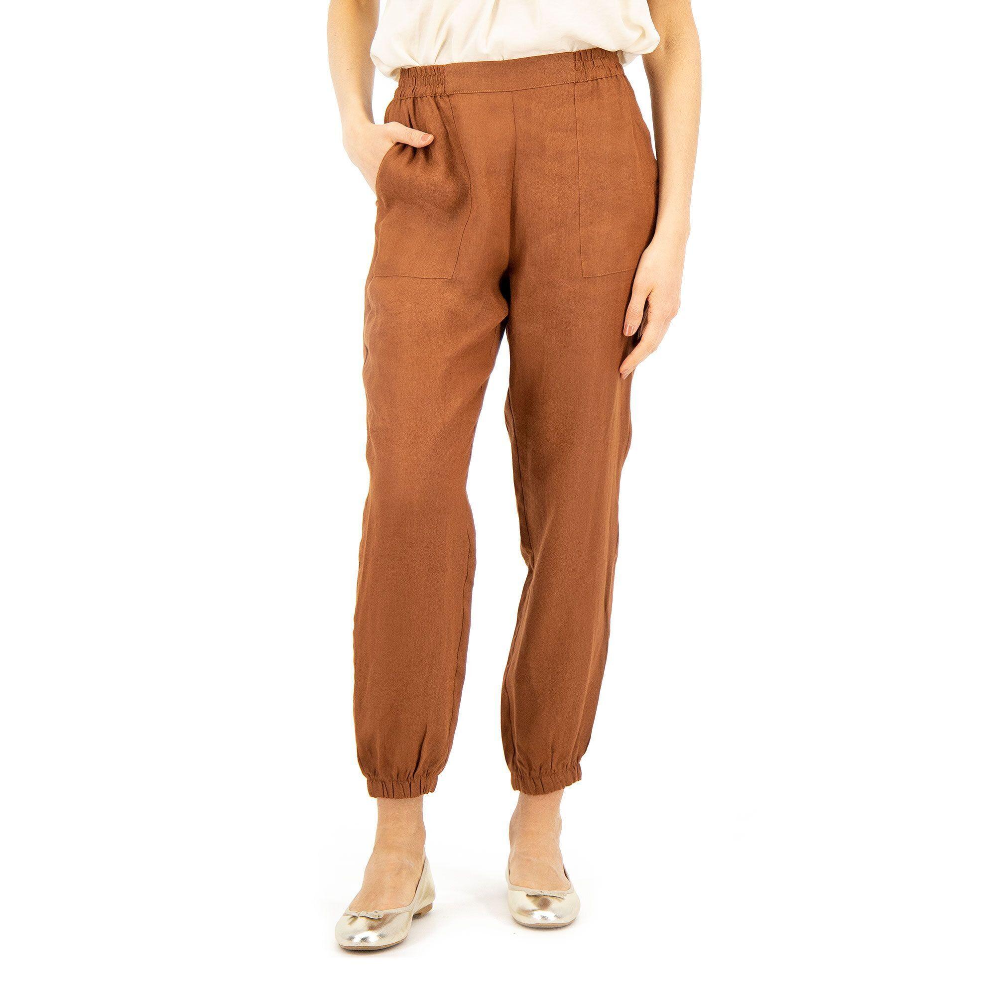 Officina della Moda Pantaloni jogger in lino