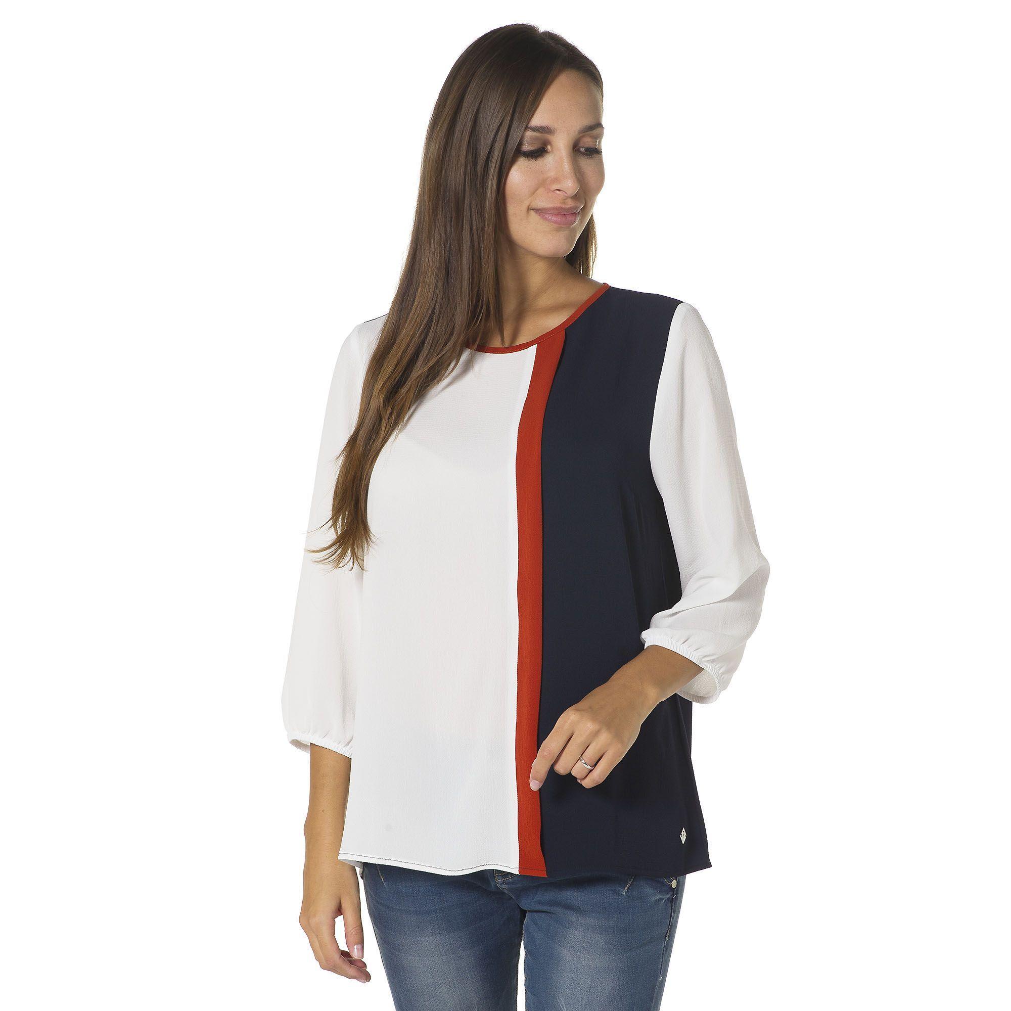 Officina della Moda Blusa in crêpe con inserti in contrasto