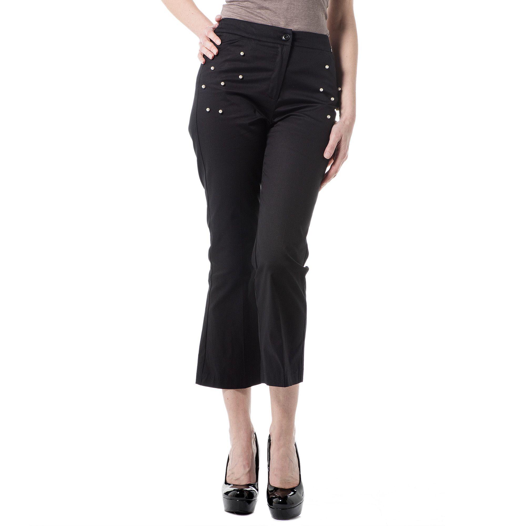 Officina della Moda Pantaloni gaucho in twill di cotone e decorazione di perle