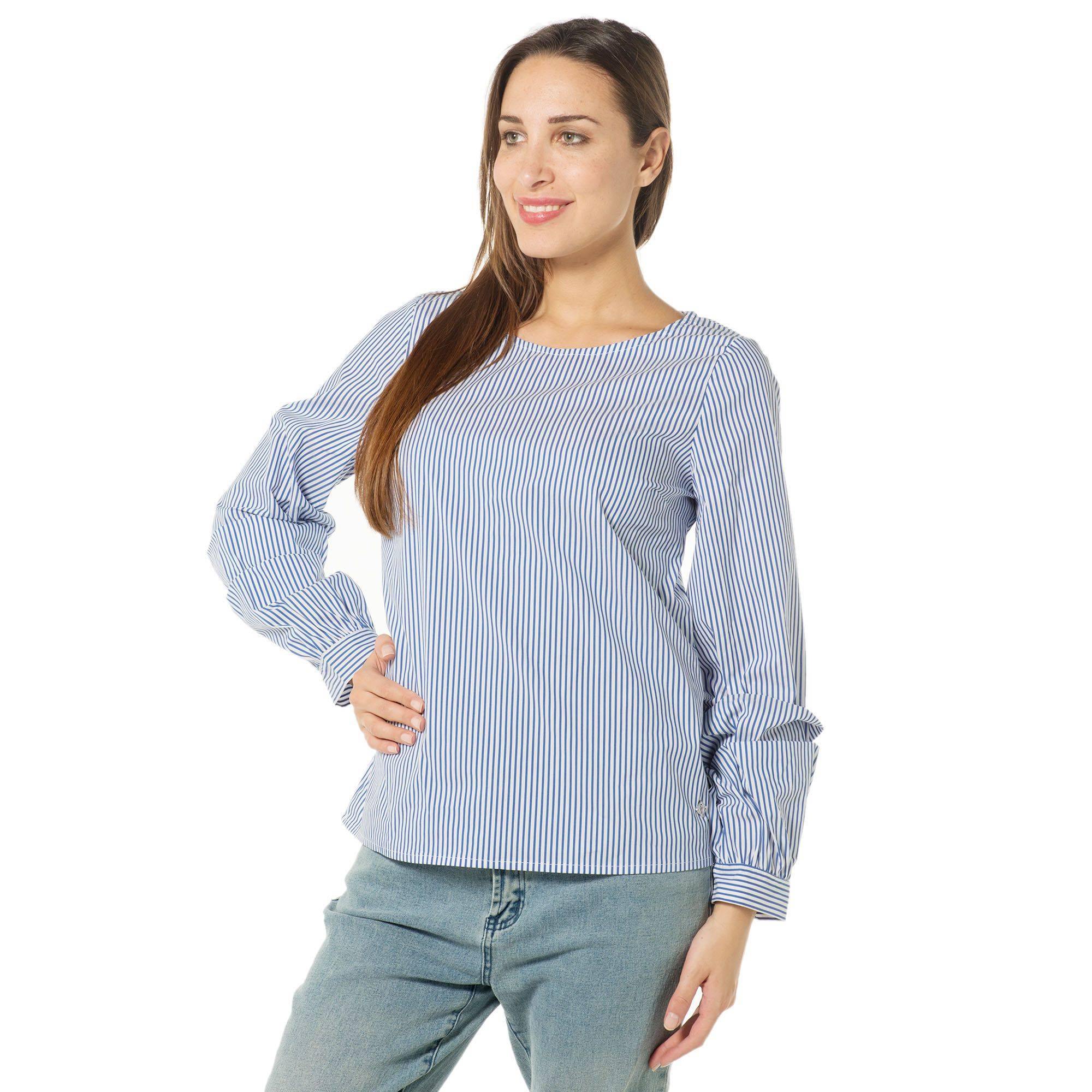 Officina della Moda Camicia a righe con maniche arricciate e goccia sul retro