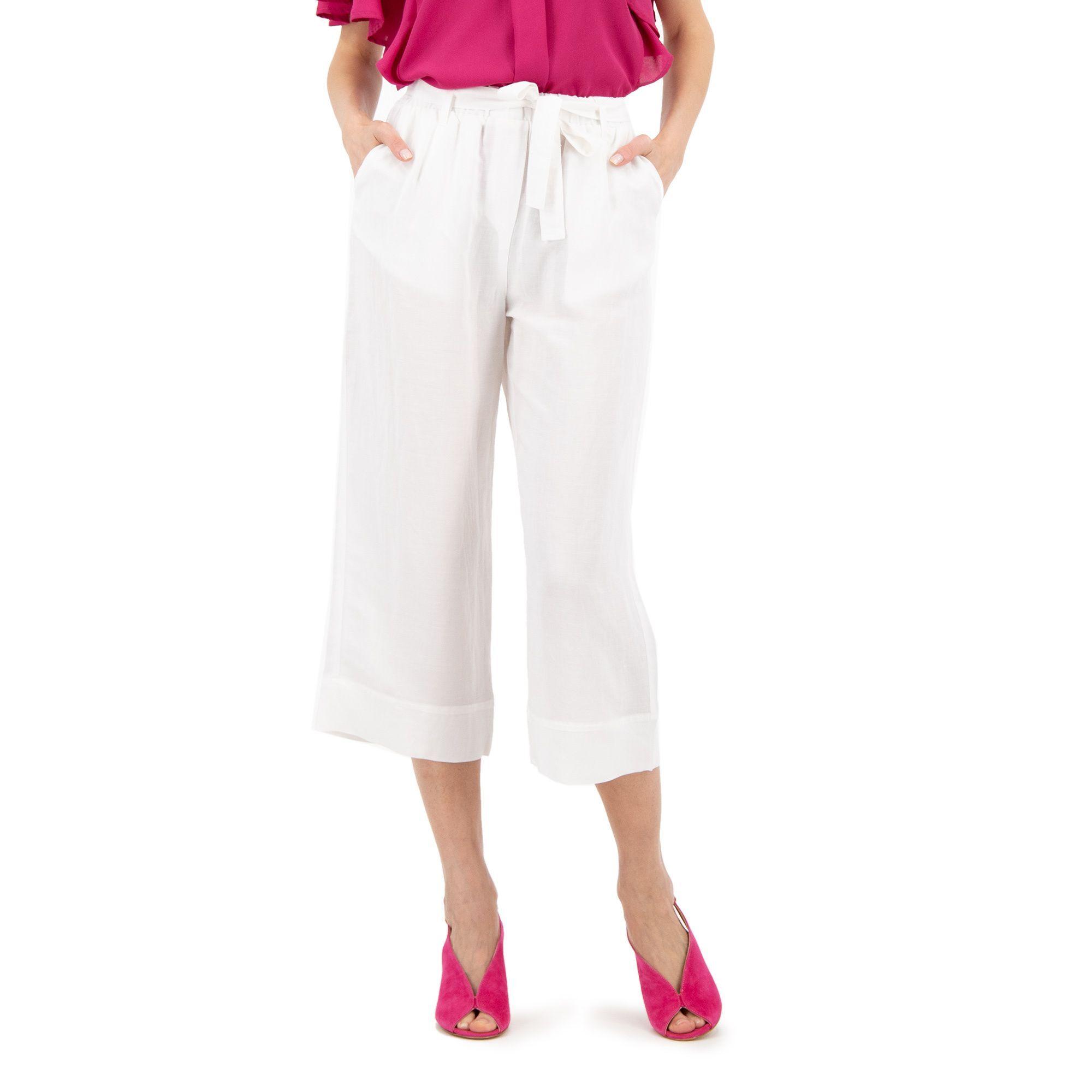 Officina della Moda Pantaloni ampi in viscosa e lino