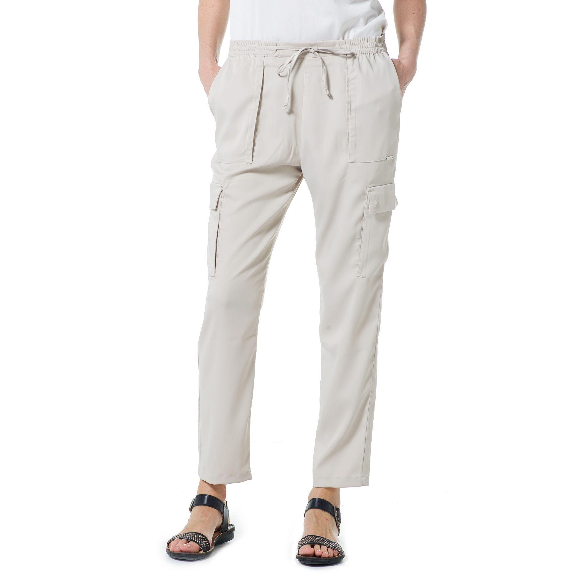 Officina della Moda Pantaloni cargo in raso lucido con vita elasticata