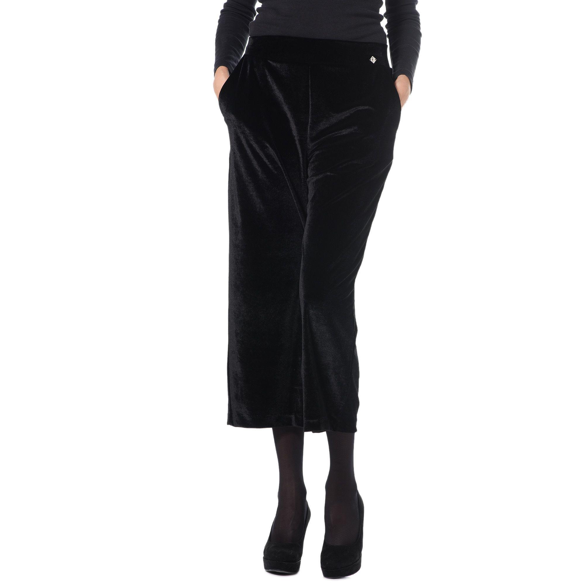 Officina della Moda Pantaloni in velluto con elastico in vita