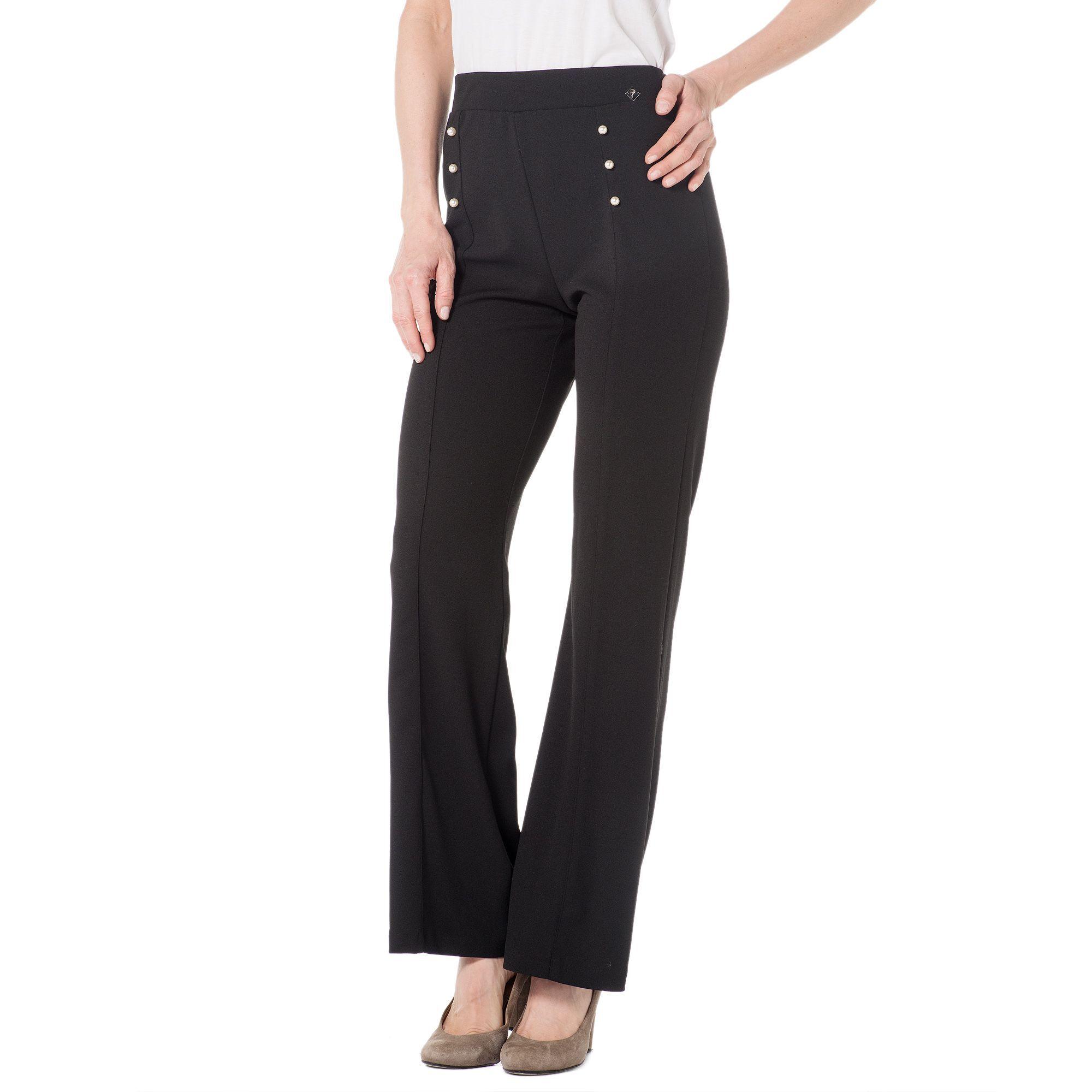 Officina della Moda Pantaloni a zampetta in tessuto scuba crêpe con perle davanti