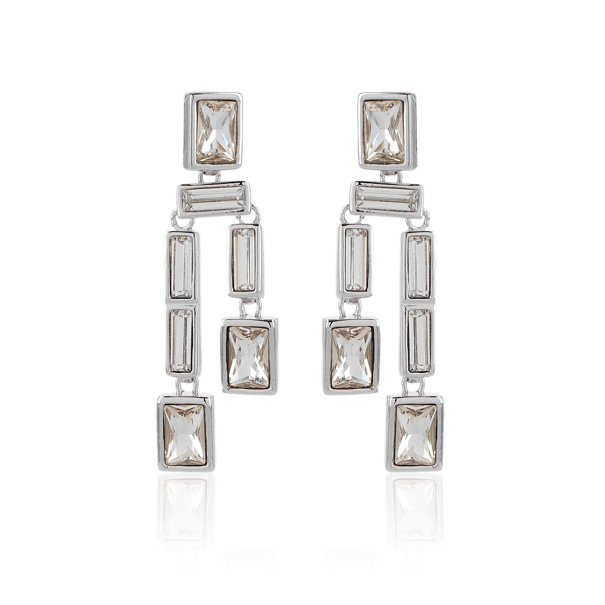 Princess Orecchini pendenti design geometrico con cristalli