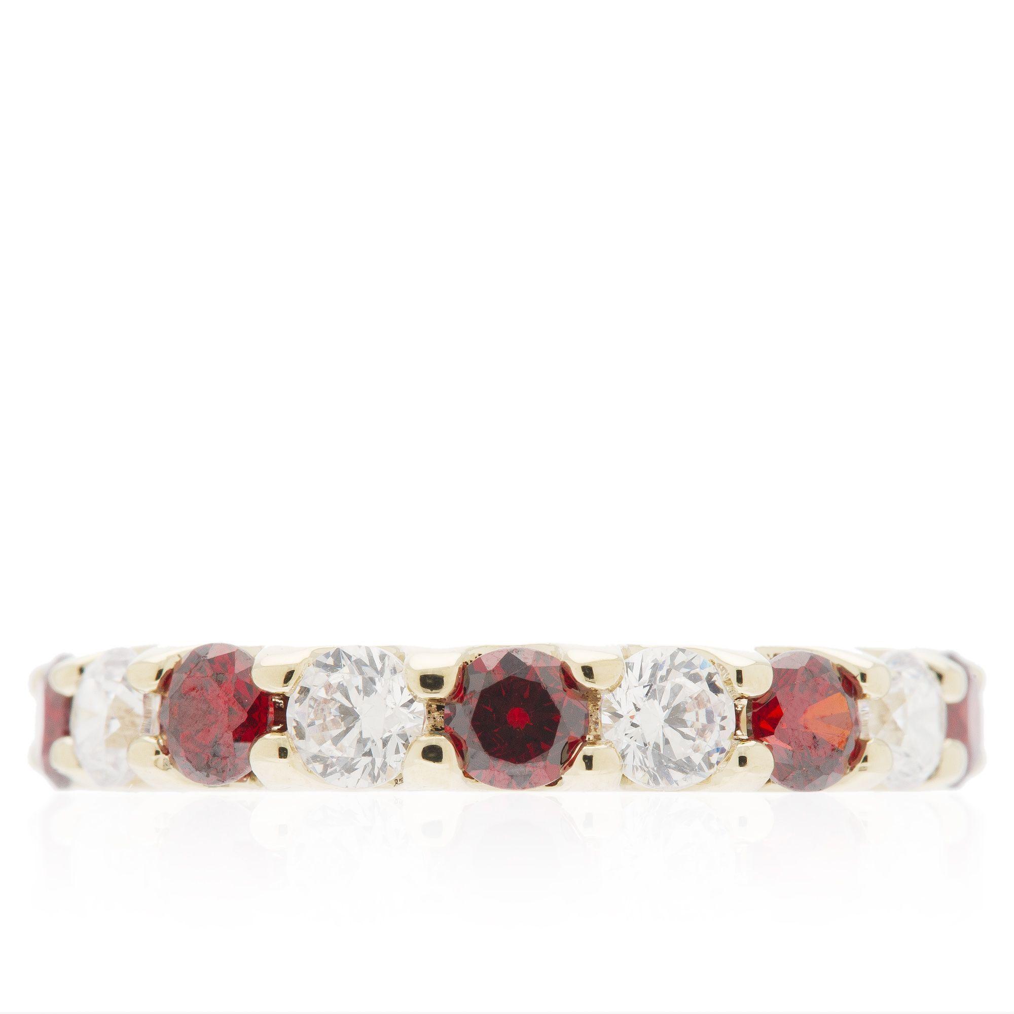 Princess Anello Eternity con cristalli rossi e incolori