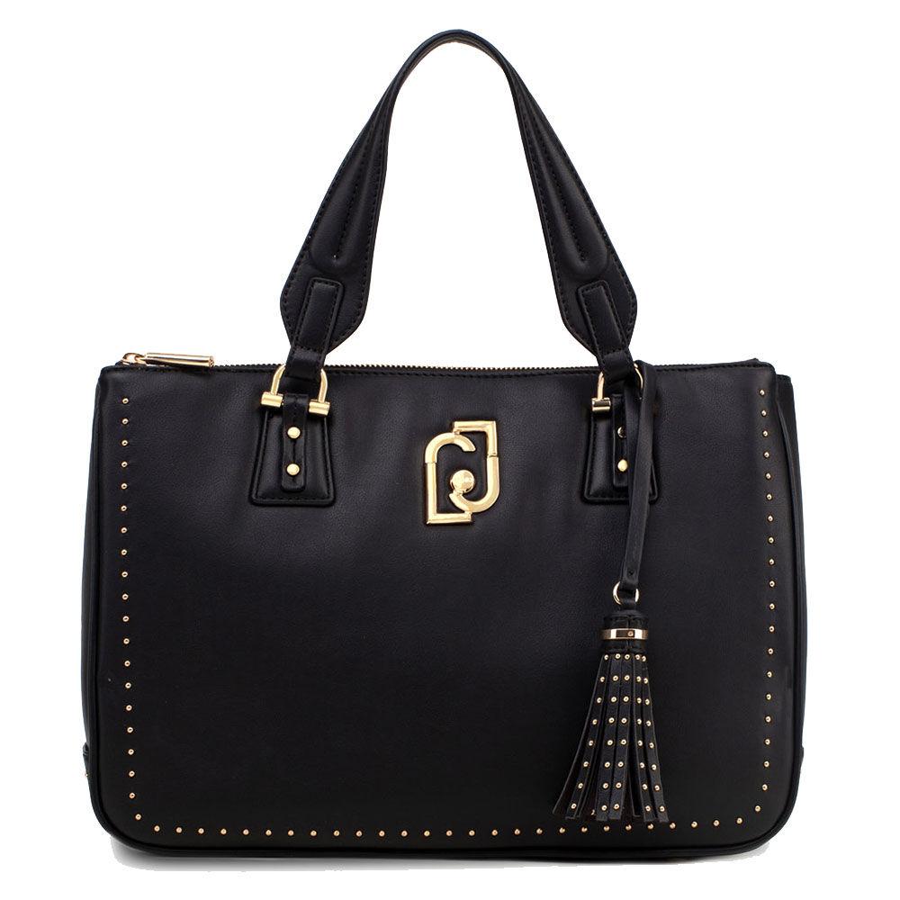 liujo borsa donna bauletto a mano  nero con micro borchie