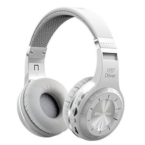 Bluedio H+(Turbine) Bluetooth Stereo Headphone Wireless Auricolari Cuffie Headphones Bulit-in Microphone Micro-SD Music String/FM Radio BT4.1 Over-Ear Headphones -Gift Package Global Release (White)
