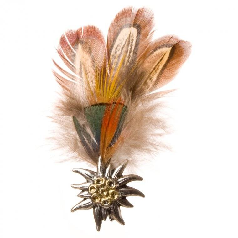 HUTTER Accessorio per cappelli con piume di fagiano e applicazione di stella alpina