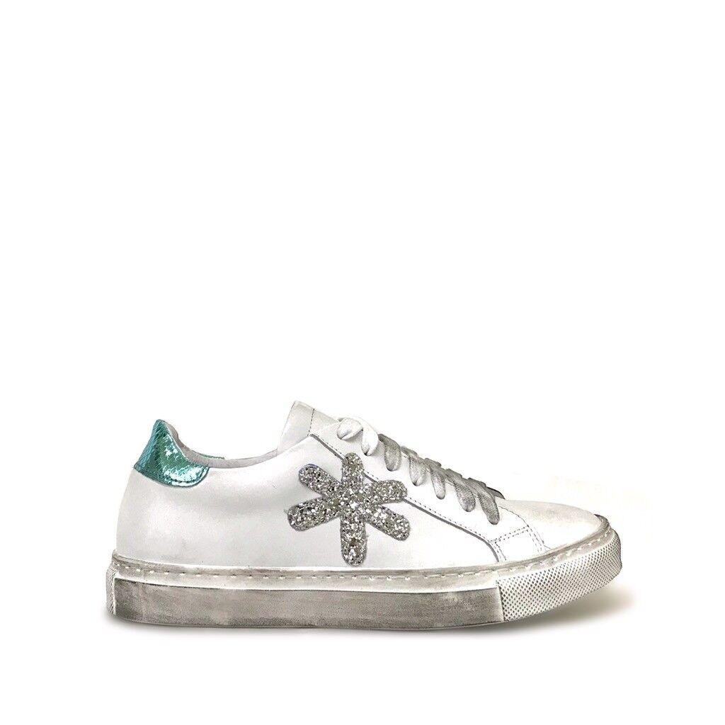 shoe gar sneakers stella asterisco glitter argento e verde