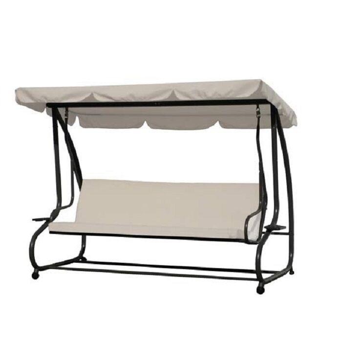 dondolo da giardino a 3 posti in acciaio mod. sofa sgancio rapido letto cm 230x120x170h cod.13088