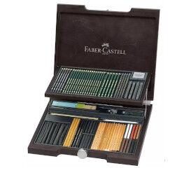 Faber Castell Valigetta Pitt Monochrome Con scatola in legno, 85 pezzi