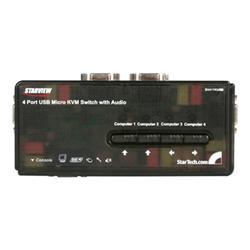 startech switch kvm .com kit switch kvm usb con audio e cavi 4 porte, colore nero sv411kusb