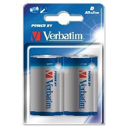Verbatim Pila alcalina Batteria 2 x d alcalina 49923