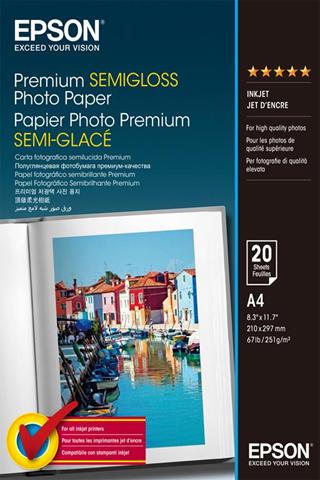 Epson Premium Semi-Gloss Photo Paper - A4 - 20 Fogli
