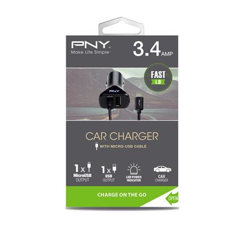PNY P-DC-UU-K01-04-RB Caricabatterie per dispositivi mobili Auto Black