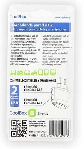 CoolBox UX-2 Interno Nero caricabatterie per cellulari e PDA