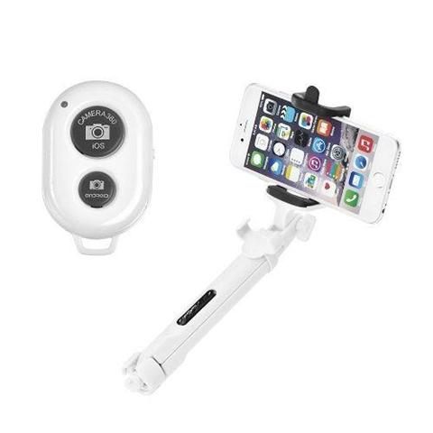 Polo treppiede selfie bluetooth ozzzo bianco per ASUS ZenFon 2 Deluxe ZE551ML
