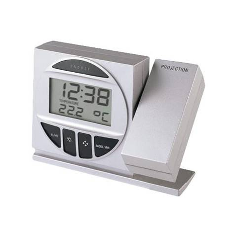 Technoline Radio Controlled Alarm Clock with Projection Argento