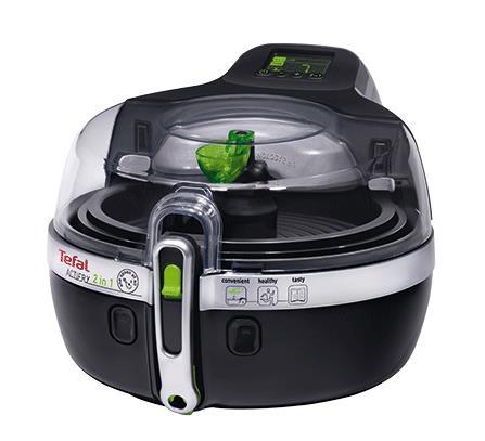 Tefal YV9601 friggitrice Low fat fryer Doppia Nero, Argento Indipendente 1400 W