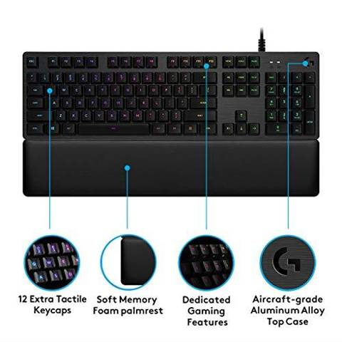 Logitech G513 Tastiera Gaming Meccanica Retroilluminata con Switch Clicky, Carbon, QWERTY Layout UK