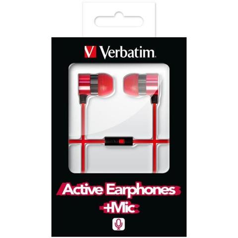 Verbatim Auricolari con Microfono Verbatim 49110 Cablato Rosso